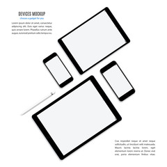 mockup devices: smartphones and tablets with blank screen isolated on white background. stock vector illustration eps10