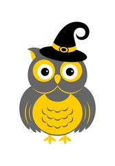 Halloween owl icon or logo in modern line style. Vector illustration.