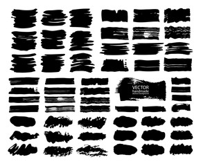 Set of abstract vector brush strokes. Black backgrounds, spots. handmade