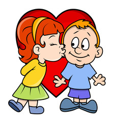 Cartoon Girl Kissing a Boy