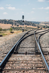 Railway cross line passing through Andalusia