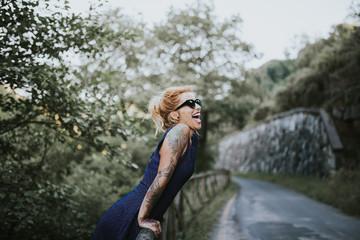 woman having fun in the mountain
