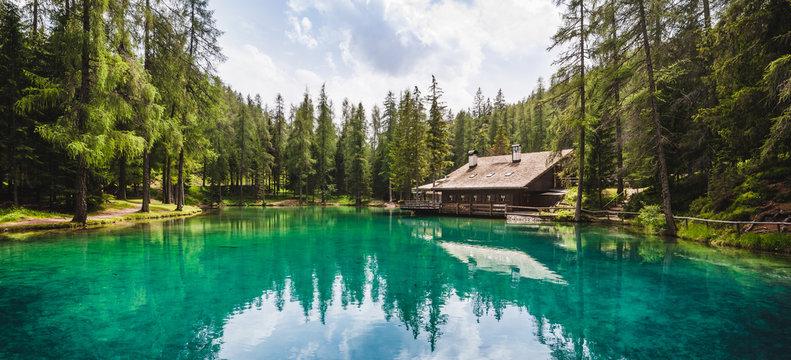 Clean Alpine Lake in the Woods, Italian Alps