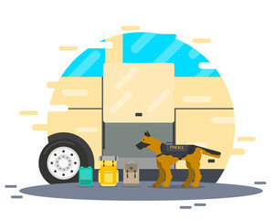 A police dog is looking for a bomb and drugs at a bus stop. Vector illustration
