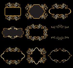 Set of gold linear frame for graphic design on black background. Elegant graceful frame, filigree border in vintage style for wedding invitations, card, logo, icon