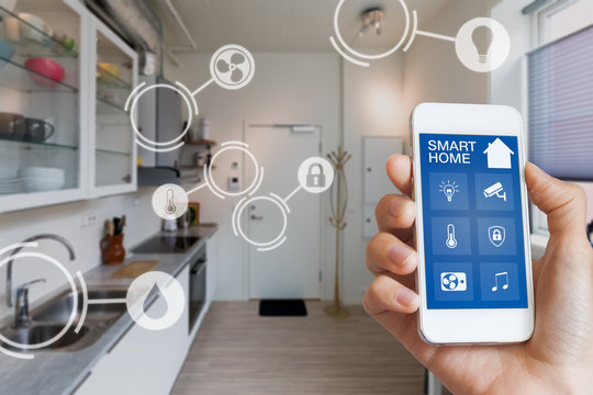 Smart home interface with AR view of IOT objects interior
