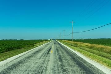 Route 66 through Illinois farmland