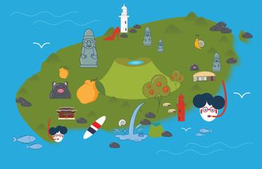 Jeju island map in a cartoon style. Jeju-do map with various Jeju symbols.