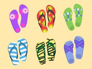 Flip flops set. Colorful beach wear. Men s and women s summer fashion.