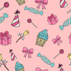Gifts and sweets isolated on pink, Seamless background