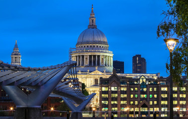 The nighttime view of the dome of Saint Paul's Cathedral, City of London.