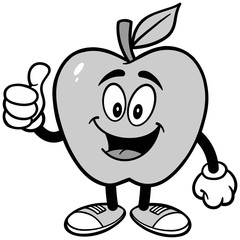 Apple with Thumbs Up Illustration
