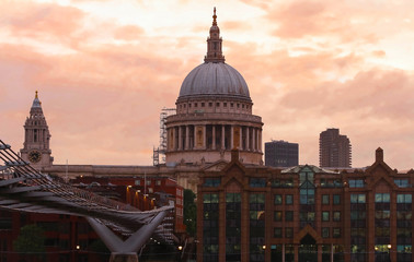 The view of the dome of Saint Paul's Cathedral at sunset, City of London.