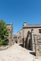 La Garde-Guerin, fortified village in Lozere, old houses, in the Cevennes in France