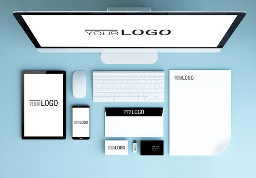 Stationery and Devices Mockup 1