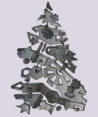 Unusual fir tree made of steel and metallic gears . Creative steampunk mechanical object. Vector illustration.