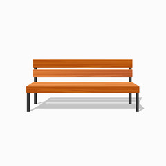 Park wood benches and steel. Vector illustration.