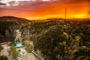 Poster Hill Turner Falls Sunset in the Arbuckle Mountains of Oklahoma