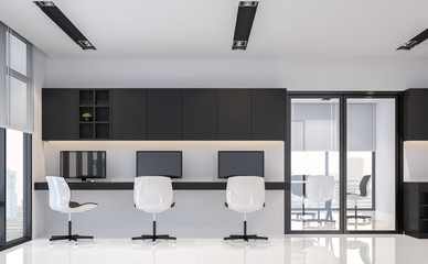Modern black and white office interior minimal style 3d rendering image.There are white floor.Furnished with black wood furniture .There are large windows look out to see the city view
