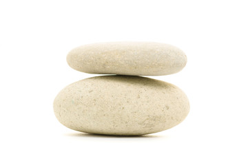 Sea pebble stones white isolation