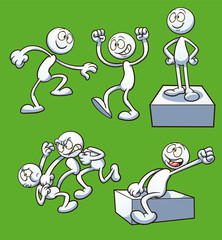 Generic cartoon character performing different actions. Vector clip art illustration with simple gradients. Some elements on separate layers.