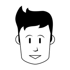 face of happy man icon image vector illustration design  black and white
