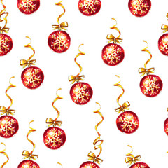 New Year and Xmas seamless pattern. Christmas bauble