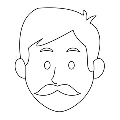 man character face avatar male outline image vector illustration