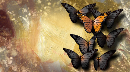 Special beautiful butterfly among dull gray ones