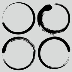 Enso Zen Circle Brush Set. Vector Painting Illustration Collection
