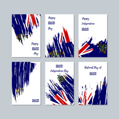 SGSSI Patriotic Cards for National Day. Expressive Brush Stroke in National Flag Colors on white card background. SGSSI Patriotic Vector Greeting Card.