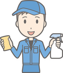 Illustration of a man cleaning work clothes