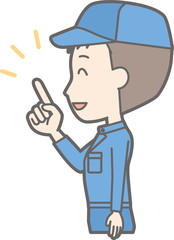 Illustration that a man wearing work clothes looks sideways and points at a finger