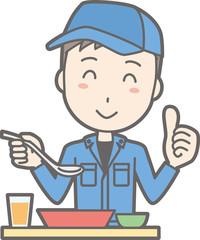 An illustration of a man wearing work clothes eating a meal at a table