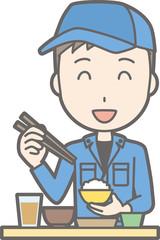 Illustration of men dressed in work clothes eating Japanese food