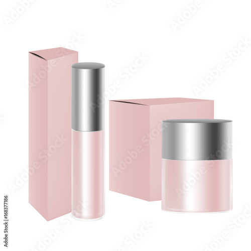 vector packaging pink wide round cosmetic medicine bottle or