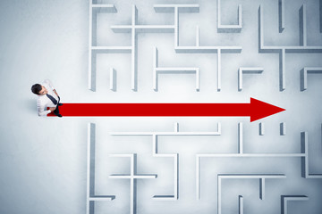 Wall Mural - Business man looking at maze with red arrow