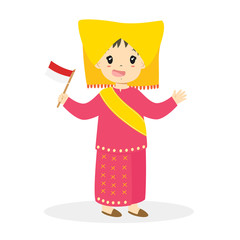 Padang girl wearing traditional dress and holding Indonesian flag cartoon vector