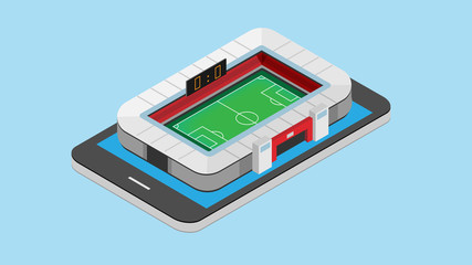 vector isometric of soccer stadium on smart phone. football on mobile concept. vector illustration.