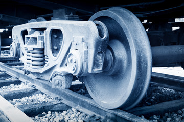 Detail of the wheels on a steam train