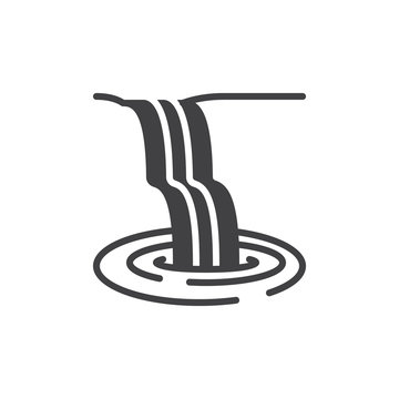 Waterfall icon vector, filled flat sign, solid pictogram isolated on white. Symbol, logo illustration. Pixel perfect vector graphics
