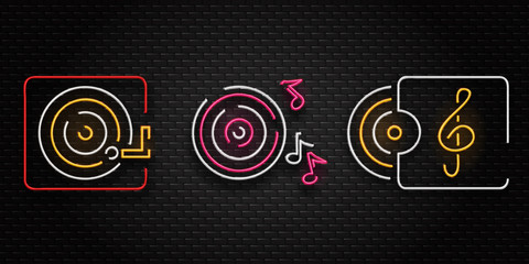 Vector set of realistic isolated neon retro sign of vinyl and notes for decoration and covering on the wall background. Concept of music, dj and disco.