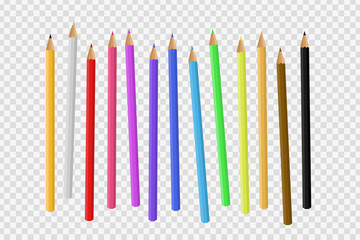 Vector set of realistic isolated wooden colored pencil on the transparent background for decoration and covering.