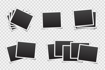 Vector set of photo frames on the transparent background. Realistic template for photo covering, branding and decoration.