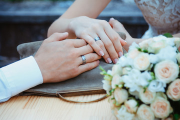 Close up picture of man and woman with wedding ring.