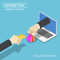 Isometric businessman hand use credit card to shopping online.
