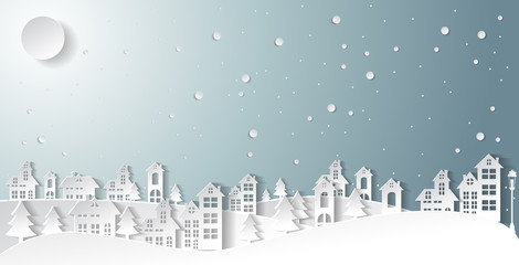 Christmas and New Years background with Christmas village Landscape