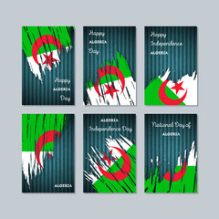 Algeria Patriotic Cards for National Day. Expressive Brush Stroke in National Flag Colors on dark striped background. Algeria Patriotic Vector Greeting Card.