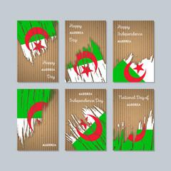 Algeria Patriotic Cards for National Day. Expressive Brush Stroke in National Flag Colors on kraft paper background. Algeria Patriotic Vector Greeting Card.