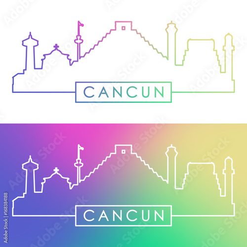 Cancun Skyline Colorful Linear Style Editable Vector File Stock